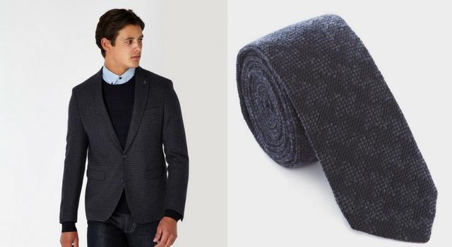 Houndstooth Patterned Jacket & Tie